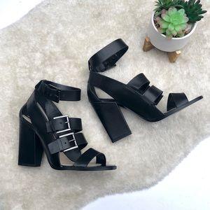 NWOB ZARA WOMAN   Black Leather Heeled Sandals 10